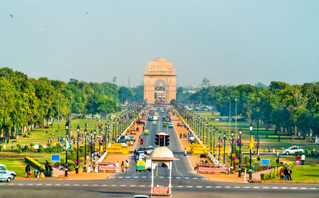 View of Rajpath ceremonial boulevard from the Secretariat Building towards the India Gate - New Delhi