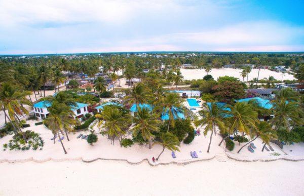 Indigo beach resort drone shot amongst the village