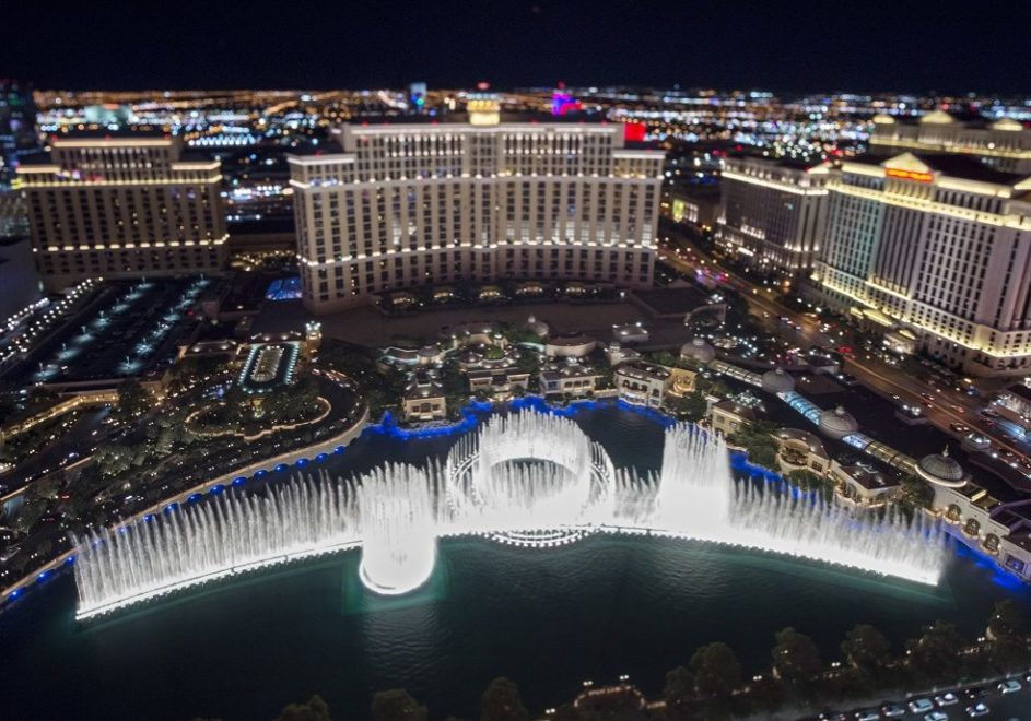 This is a view of the Bellagio and Fountains of Bellagio as seen from the Eiffel Tower replica at Paris Las Vegas Saturday, August 19, 2017. The photo was taken with a perspective control lens. CREDIT: Sam Morris/Las Vegas News Bureau