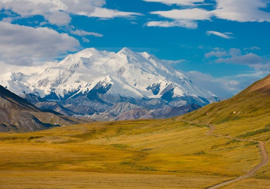Denali National Park, Alaska, view of Park Road and Mt. McKinley looking west toward Fish Creek, Thorofare Pass and Eielson Visitor Center